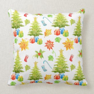 Watercolor Christmas Tree Decoration Cushion Throw Pillow