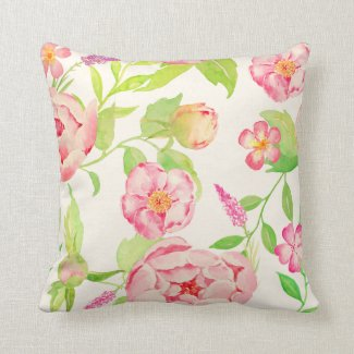 Watercolor classic pink peony cushion throw pillows