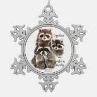 Watercolor Raccoons Together we make Family Quote Snowflake Pewter Christmas Ornament