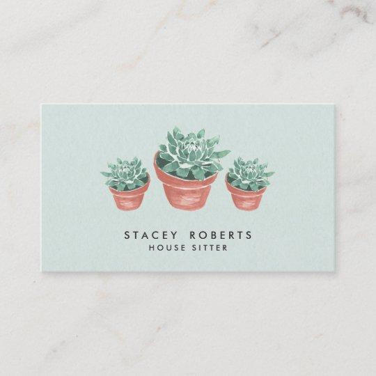 Watercolor Succulent Plant House Pet Sitter Business Card Zazzle