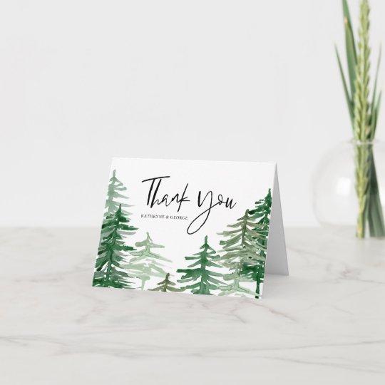 Watercolor Woodland Wedding Thank You Card Zazzle