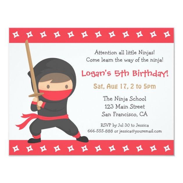 Way Of The Ninja Kids Birthday Party Invitations Zazzlecom