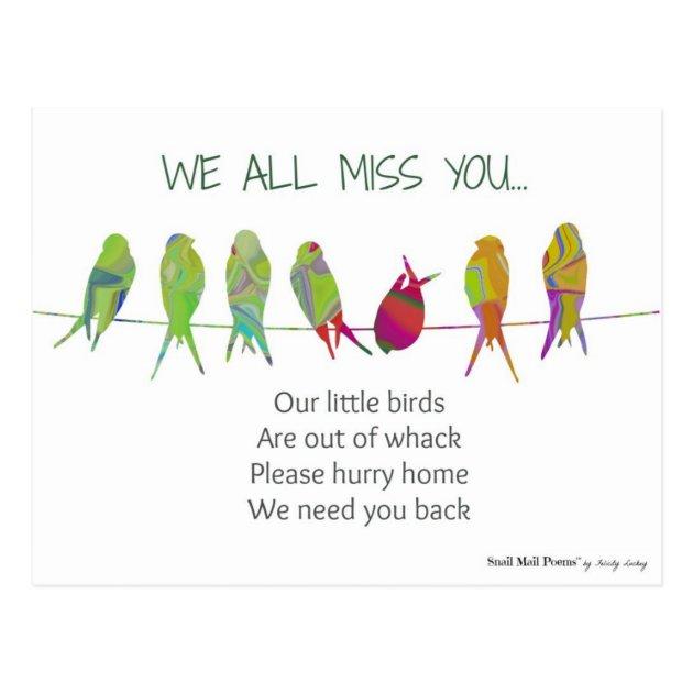 We All Miss You Poem From Kids Postcard Zazzlecom
