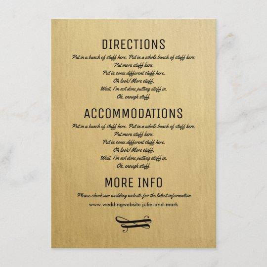 Wedding Details Card Vintage Invitation Insert Zazzle
