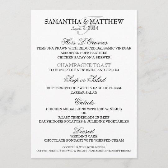 Wedding menu template PERSONALIZE Zazzle