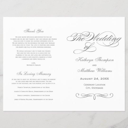 Wedding Programs Gray Calligraphy Design Zazzle