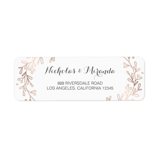 wedding return address labels, laurel, rose gold label Zazzle - Address Label