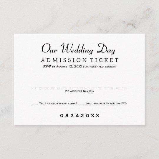 Wedding RSVP Card Movie Ticket Style Zazzle