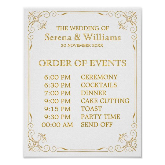 Wedding Schedule of Events Sign Gatsby Art Deco Zazzle