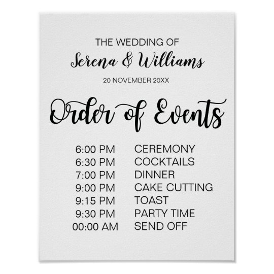 Wedding Schedule of Events Sign Modern Calligraphy Zazzle