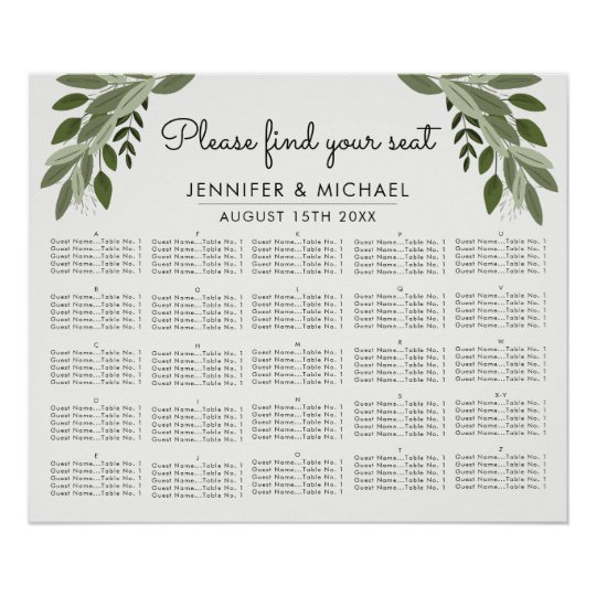 Wedding Sprigs - Alphabetical Seating Chart Zazzle