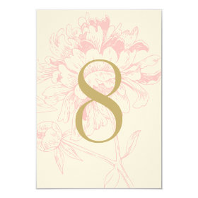 Wedding Table Number | Pink Floral Peony Design 3.5x5 Paper Invitation Card