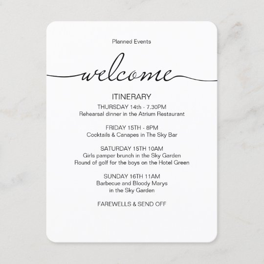 Wedding weekend Itinerary favor bag welcome card Enclosure Card