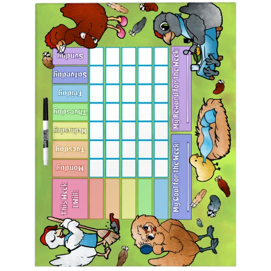 Weekly Goals and Rewards Chart with Chickens Dry Erase Board
