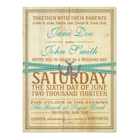 Western and Wood Wedding Invitation