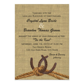Western Rope and Horseshoes Wedding 5x7 Paper Invitation Card