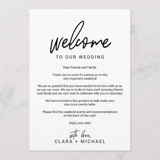 Whimsical Calligraphy Wedding Welcome Letter Program Zazzle