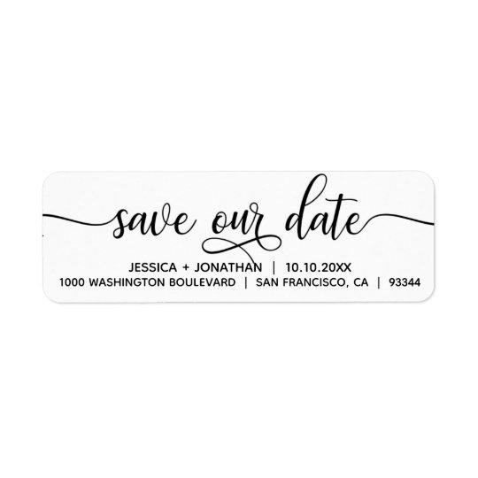 White Black SAVE OUR DATE Wedding Return Address Label Zazzle - Address Label
