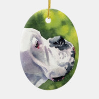 White Boxer Double-Sided Oval Ceramic Christmas Ornament