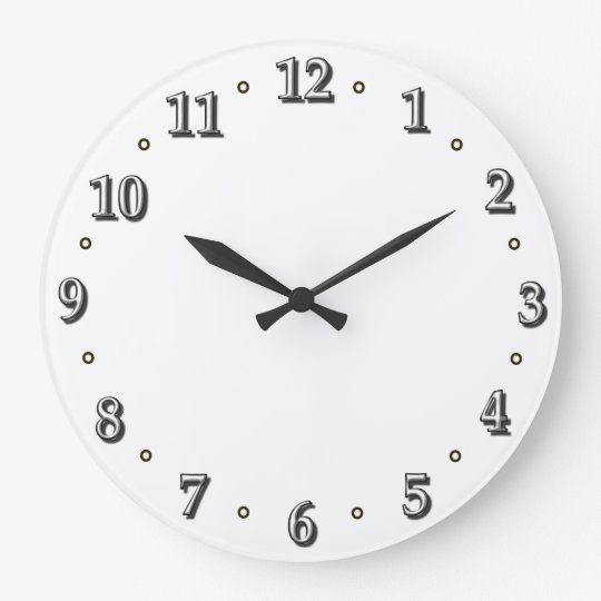 White Numbers Clock Face Template Zazzle