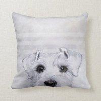 white schnauzer throw pillow | Zazzle