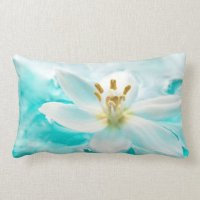 White Tulip Flower Blue Water Pond Aqua Turquoise Lumbar ...