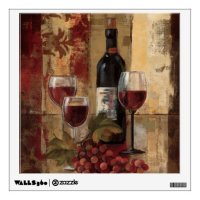 Wine Bottle and Wine Glasses Wall Decal | Zazzle