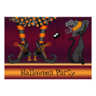 Witch Legs, Cat and Spider Halloween Party Custom Invitations