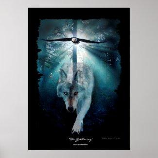 Wolf & Eagle Wildlife Gathering Art Poster