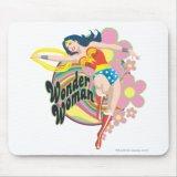 Wonder Woman Retro Flowers Mousepad