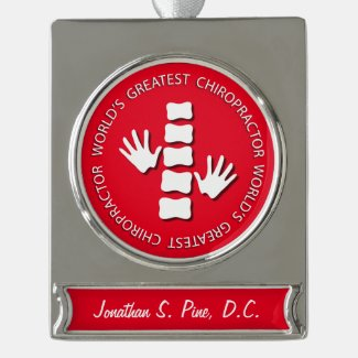 World's Greatest Chiropractor Personalized Silver Plated Banner Ornament