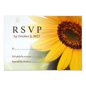 Yellow Sunflower Summer Wedding RSVP Card
