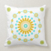 Yellow Turquoise And White Geometric Pattern Throw Pillow ...