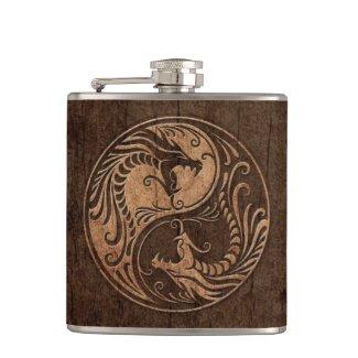 Yin Yang Dragons with Wood Grain Effect Hip Flask