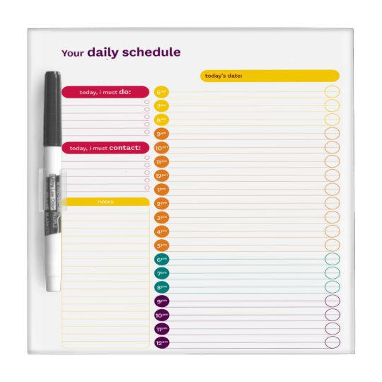 Your Daily Schedule Dry Erase Board Zazzle