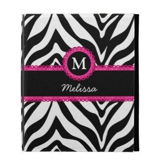 Zebra Stripes Monogram Name iPad Cases
