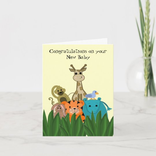 Zoo Animal New Baby Congratulations Card Zazzle