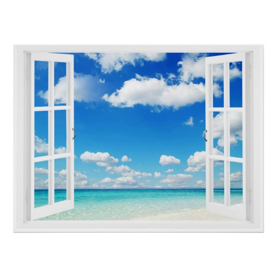 Baby Spucktücher Offenes Fenster Am Strand Poster | Zazzle