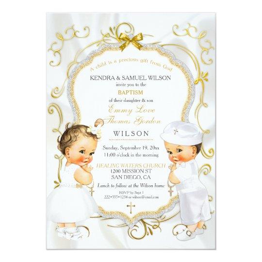3d Wallpaper Girl And Boy Invitaci 243 N Oro Del Bautizo Del Bautismo De Los Gemelos Del