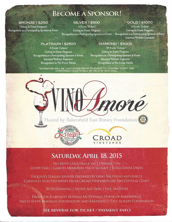 Vino Amore Ronald McDonald House Charities of Southern California - event program