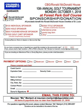 Donation Form 2018 GOLF - Ronald McDonald House Charities of St Louis