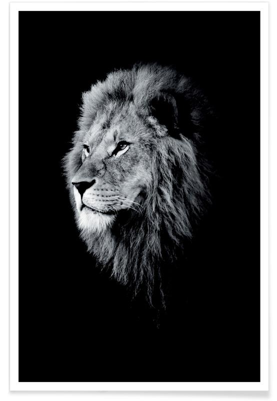 Juniqe Bilder Dark Lion Head Poster | Juniqe