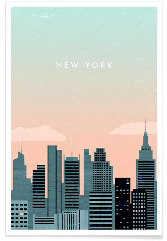 Alu Dibond Hamburg Retro-new York Poster | Juniqe