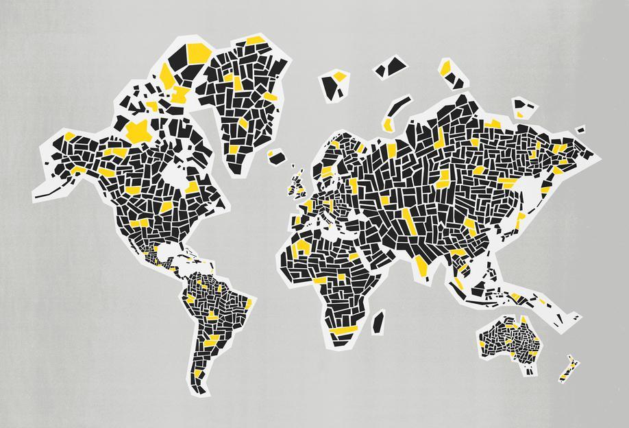 Abstract World Map as Aluminium Print by Fox  Velvet JUNIQE