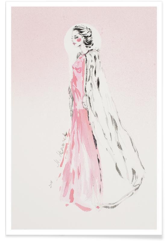 Pink fashion illustration as Premium Poster JUNIQE UK