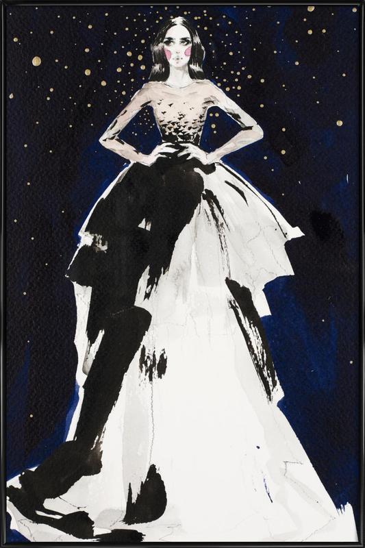 Fashion illustration dark sky as Poster in Standard Frame JUNIQE