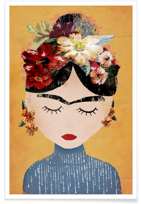 Poster Kunst Frida As Premium Poster By Treechild | Juniqe
