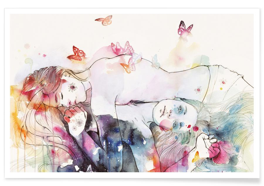 Wall Art Leinwandbilder Dreamy Insomnia As Premium Poster By Agnes-cecile | Juniqe