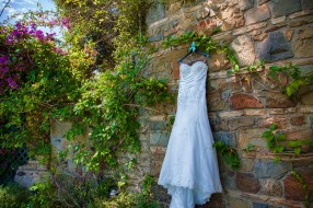 bride's dress at bel air bay club