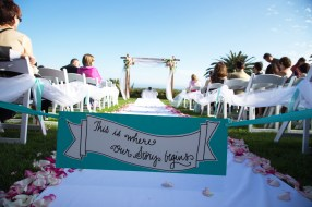 our story begins sign at ceremony